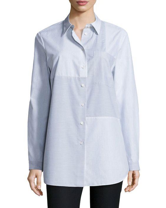 Alex Long-Sleeve Patchwork Blouse, Women's, Size: PETITE0-2, Raindrop Multi - Lafayette 148 New York