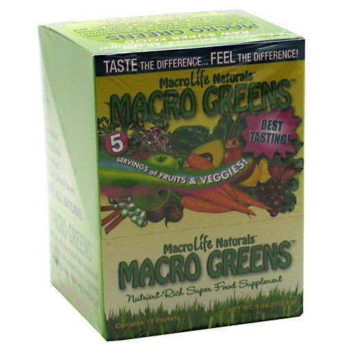 MACRO GREENS by MacroLife Naturals Inc.. Save 29 Off!. $18.79. Macro Greens Macro Greens Packet Box12 PacketsA complete, balanced, all-natural raw super-food.Macro Greens is an abundant source of antioxidants, co-nutrients, enzymes, B-vitamins, minerals, amino acids and acidophilus cultures for those who prefer to get A-Z nutrition from whole foods.The perfect source for alkalizing the body.38 All-Natural, Health-Building Ingredients!-Boost Energy and Metabolism-Strengthen immune ...