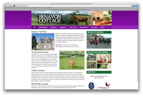 Website for a self catering accommodation provider based in Tomintoul in the Highlands of Scotland. http://benavon-tomintoul.com/