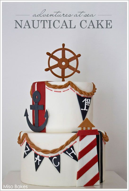 Nautical Beach Cake & DIY by Miso Bakes  |  TheCakeBlog.com: