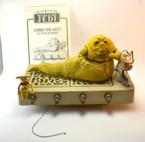 Vintage Kenner Star Wars Jabba The Hutt with Throne and Salacious Crumb 1983