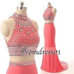 #promdress01 prom dresses - 2015 elegant coral chiffon high neck two pieces long senior prom dress, ball gown, occasion dress #prom2015 #promdress -> www.promdress01.c... #coniefox #2016prom