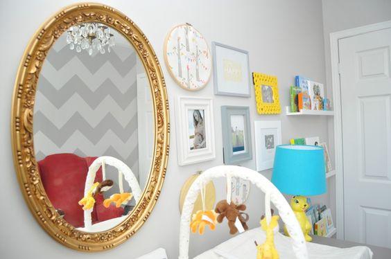Gold mirror + gallery wall #nursery: Gold Mirror, Baby Boy Rooms, Kids Room, Baby Ideas, Baby S Room, Baby Room, Babys Rooms, Baby S Bedroom