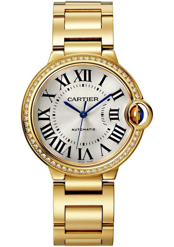 Ballon Bleu De Cartier 36 Mm 18k Yellow Gold Diamond Watch