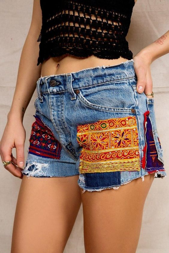 HYM Salvage X Urban Renewal Sequin Patch Denim Short | Denim ...