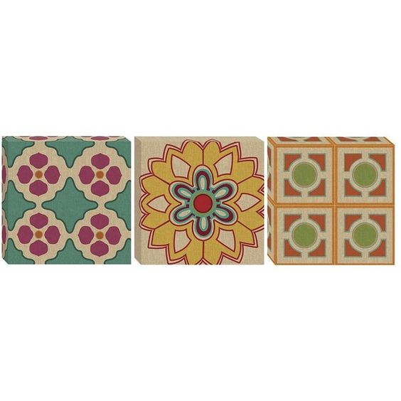 Medallion Collage 3-pc. Canvas Wall Art Set (320 PEN) ❤ liked on Polyvore featuring home, home decor, wall art, medallion wall art, canvas home decor and canvas wall art