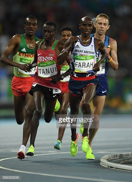 Rio Brazil 13 August 2016 Mo Farah of Great Britain leads the Men's 10000m Final in the Olympic Stadium Maracanã during the 2016 Rio Summer Olympic...