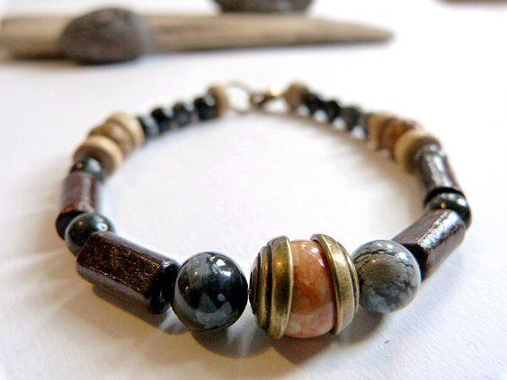 Bracelet unisexe ethnique en obsidienne, bois et jaspe. : Bijoux pour hommes par comme-un-homme