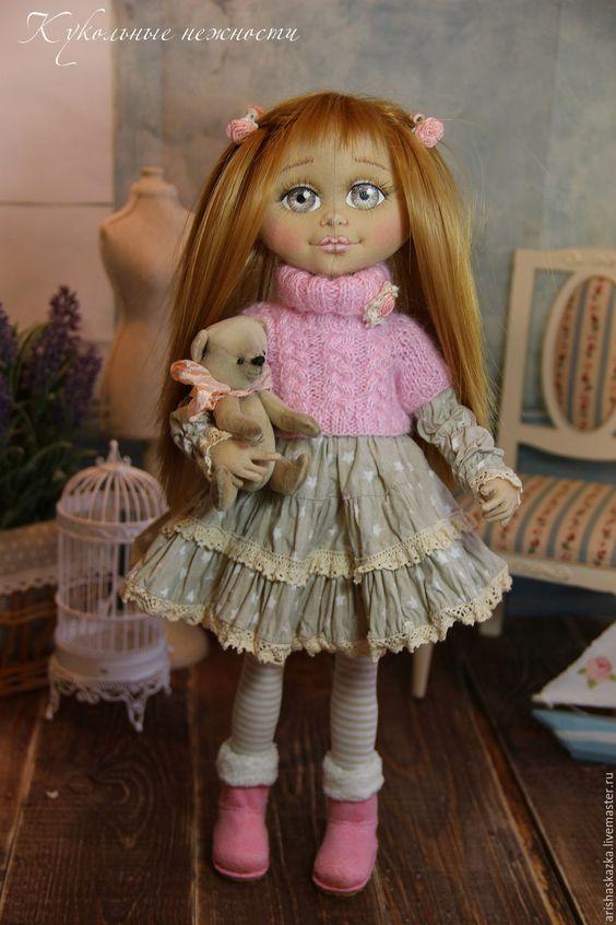 Купить Тася . Кукла авторская текстильная кукла . - бледно-розовый, серый, девочка с мишкой: