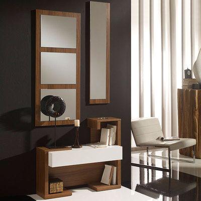 Meuble D Entree Avec Miroirs Blanc Et Noyer Moderne Anthonin Meuble Entree Entree Moderne Salon Tele
