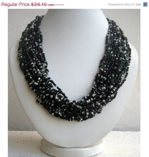 ON SALE Black Beaded Necklace/Statement Necklace/Bib Necklace/Beaded Jewelry