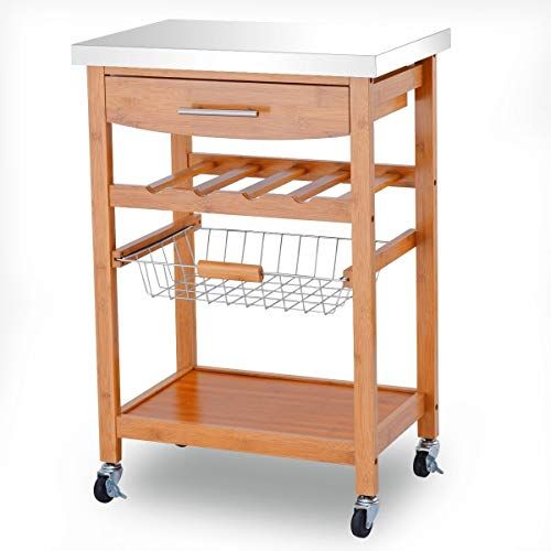 Enjoyshop Bamboo Rolling Kitchen Storage Trolley With Stainless Steel Top Large Storage Capacity Kitchen Trolley
