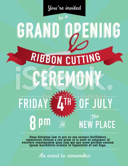 Grand opening Ribbon cutting invitation design template royalty-free stock vector art | Work ...