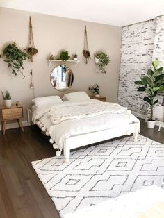 My Boho Minimalist Bedroom Reveal White Brick Wall White Platform Bed Hanging Plants Black And White Simple Bedroom Minimalist Bedroom Design Bedroom Makeover