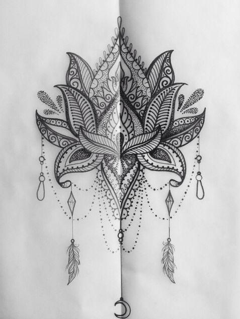 lotusbl te mit schmuck details tattoo ideen pinterest mandalas verzierungen und design. Black Bedroom Furniture Sets. Home Design Ideas