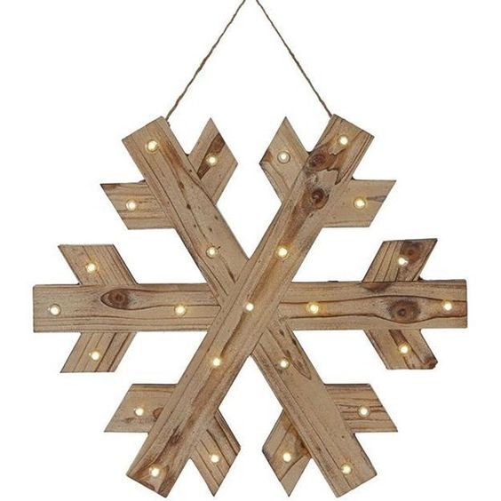 Martha Stewart Living? Lighted Wood Snowflake ($44) ❤ liked on Polyvore featuring home, home decor, holiday decorations, wooden home decor, lighted home decor, wood home decor and home decorators collection