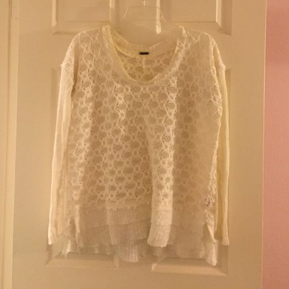 White Free People Sweater White free people sweater with pretty detailing (pictured) a little discoloring at the tag but barely noticeable Free People Sweaters Crew & Scoop Necks