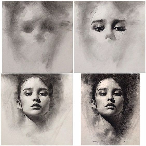 4 stages of charcoal portrait drawing - general to specific approach by Casey Baugh: