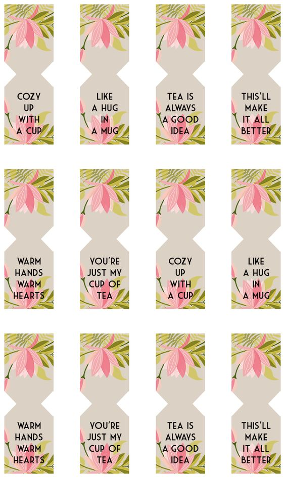Floral Free Printable Tea Bag Tags Bag Tag, Free Printable and