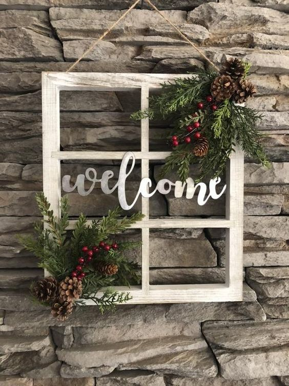 Welcome window frame/Christmas decor/Christmas door hanger/Farmhouse window frame/Farmhouse Christmas/Vintage Christmas/Vintage decor