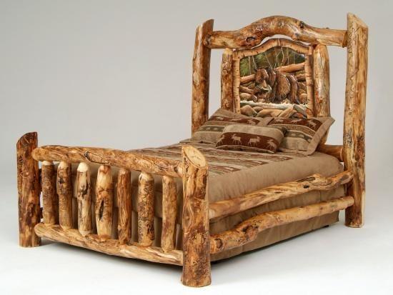 Log Furniture  Burl Aspen 4 Post Log Bed with Elk Markings