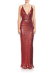 ABS - Sequined Spaghetti-Strap Gown