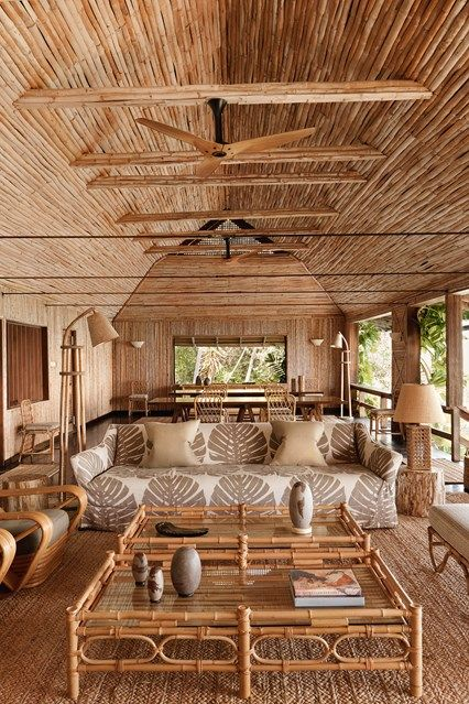 Sitting Room. Discover a redesigned bamboo house on the Caribbean island of Mustique on HOUSE - design, food and travel by House & Garden.