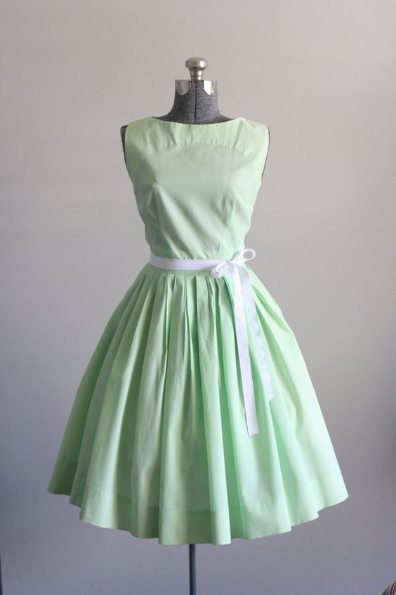 green light mint bow dress