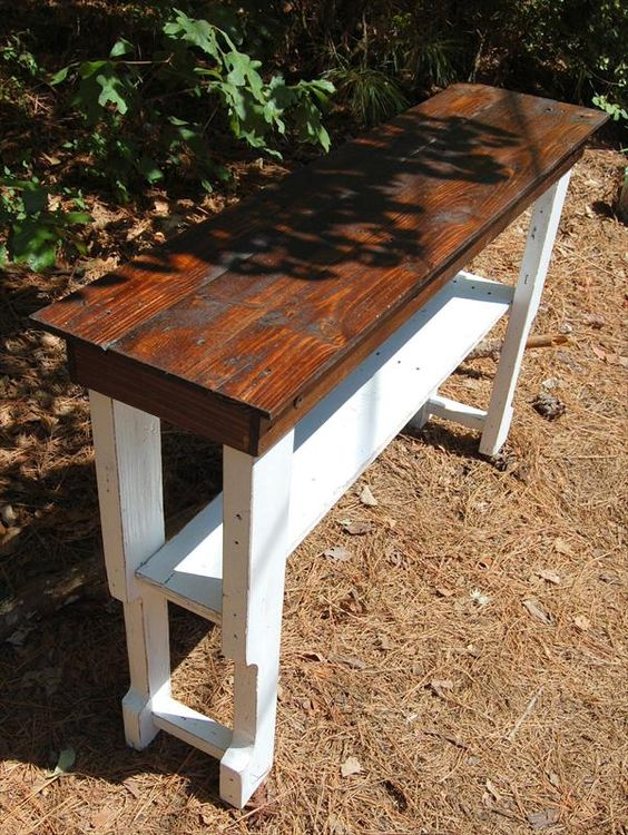 salvaged pallet hall table and console table