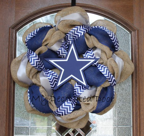 Burlap Dallas Cowboys Wreath  Navy Silver and by MyDecoratedDoor