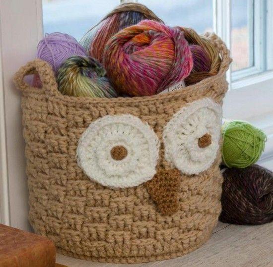 Crochet Hoot Owl Basket - FREE Pattern