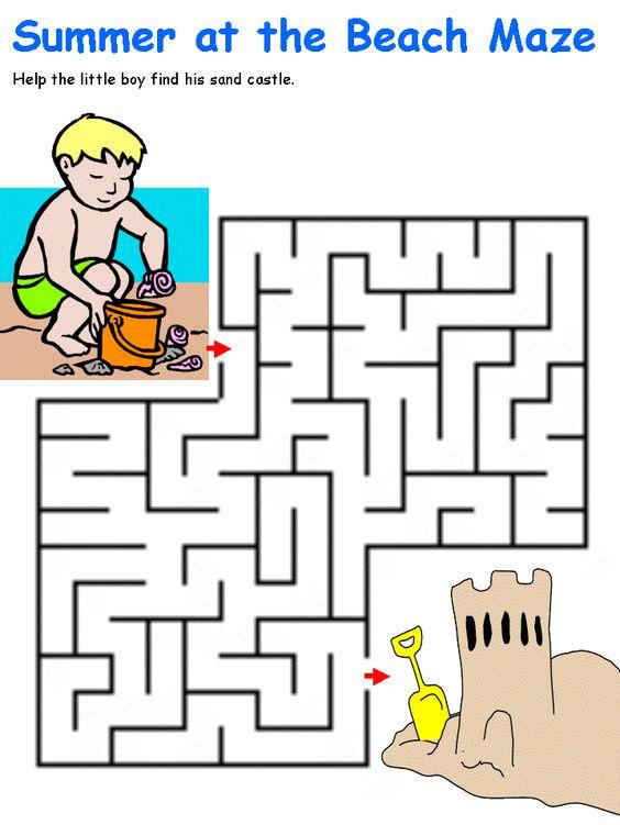 Boy and sandcastle maze from DLTK | Children's Puzzle Worksheets ...