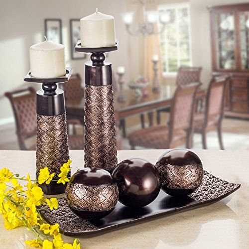 Dublin Home Decor Tray And Orbs Balls Set Of 3 Coffee Table Mantle Decor Centerpiece Bowl With Sphe Candle Holder Decor Candle Decor Decorating Coffee Tables