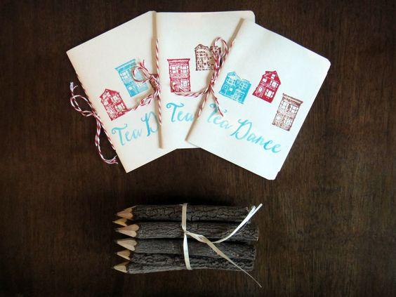 Tea Dance Wedding. Dance card stationary booklet, hand bound.
