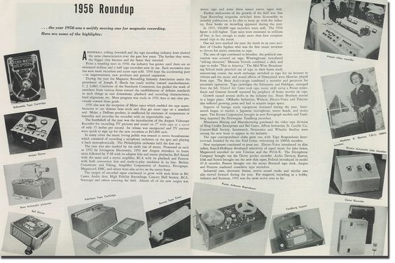 picture of pages showing recording equipment progress from 1956
