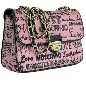 Love Moschino - Pink Signature Canvas Shoulder Bag $255.00  FORZIERI.COM