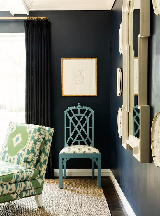 Black Curtains Complement Black Painted Living Room Walls Holding A Gold Framed Art Piece Ov Black Curtains Living Room Blue Bedroom Decor Curtains Living Room