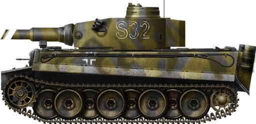 """Tiger Ausf H/E Russia april 1943,Tiger Ausf. H/E Frühes Modell from another unit of the SS Panzerdivision """"Das Reich"""", Russia, January 1943."""