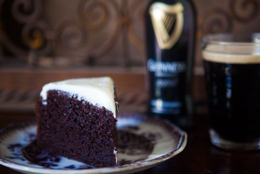 Chocolate Guinness Cake - main course and dessert on a single plate.