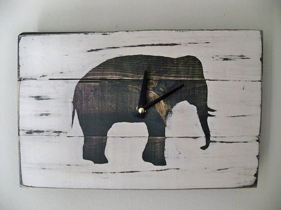 Heavily Distressed Elephant Wood Wall ClockBlack or White by Thula