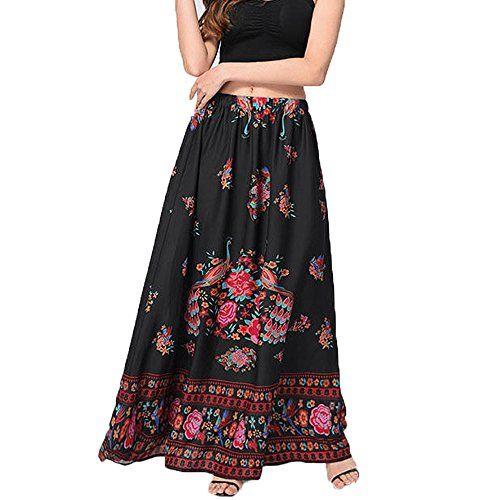 Womens High Waist Skirt Bodycon Bohemian Printed Long Maxi Skirt Summer Beach Pencil Skirt Bag Hip Prom Dress