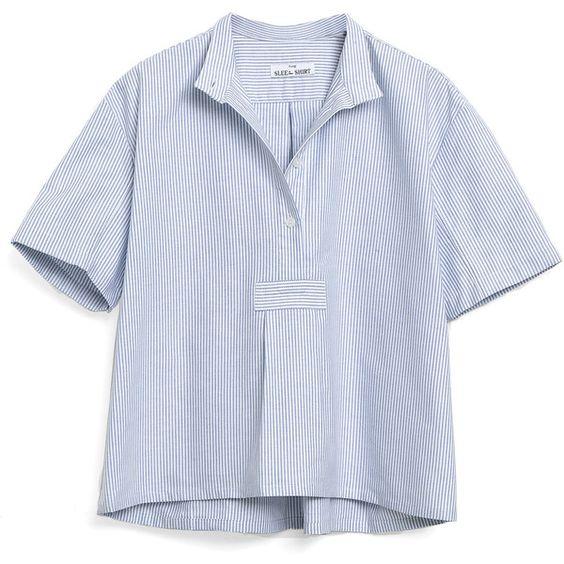 The Sleep Shirt Short Sleeve Cropped Shirt Goop ❤ liked on Polyvore featuring intimates, sleepwear, pajamas, cotton sleep shirt, short sleeve sleep shirt, short sleeve pajamas, cotton sleepshirt and cotton pajamas