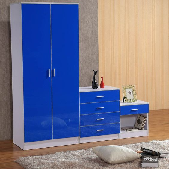 gladini high gloss 3 piece bedroom furniture set includes wardrobe 4 drawer chest