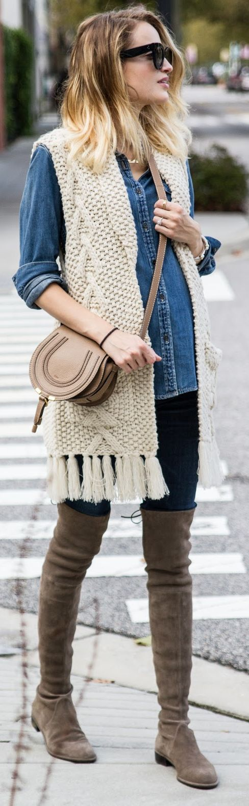 Little Blonde Book Cable Knit Fringed Vest Chambray Shirt Jeans Suede O T K B Fall Inspo: