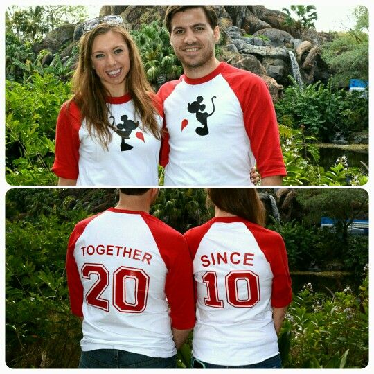 """Disney inspired couples shirts! ♡ °10° ♡ """"2006"""" thinking of ideas for our ten year anniversary...maybe Disney"""
