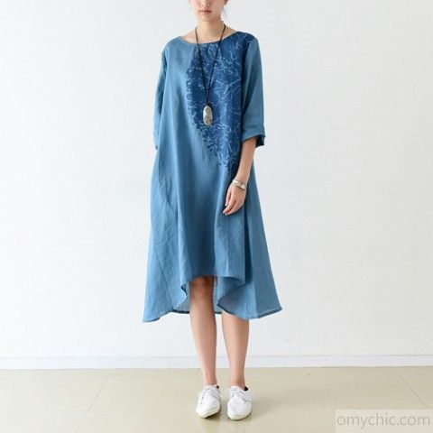 Blue Bracelet Sleeve Linen Dresses Maternity Dress Oversized
