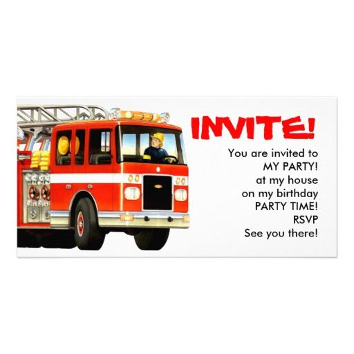 Firetruck Invitations Picture Card great firetruck party invitations for a fire truck themed party from Paul Stickland's TruckStore! #truckparty #firengine #firetruckparty #truckstore #firetrucks #firetruck #firemen