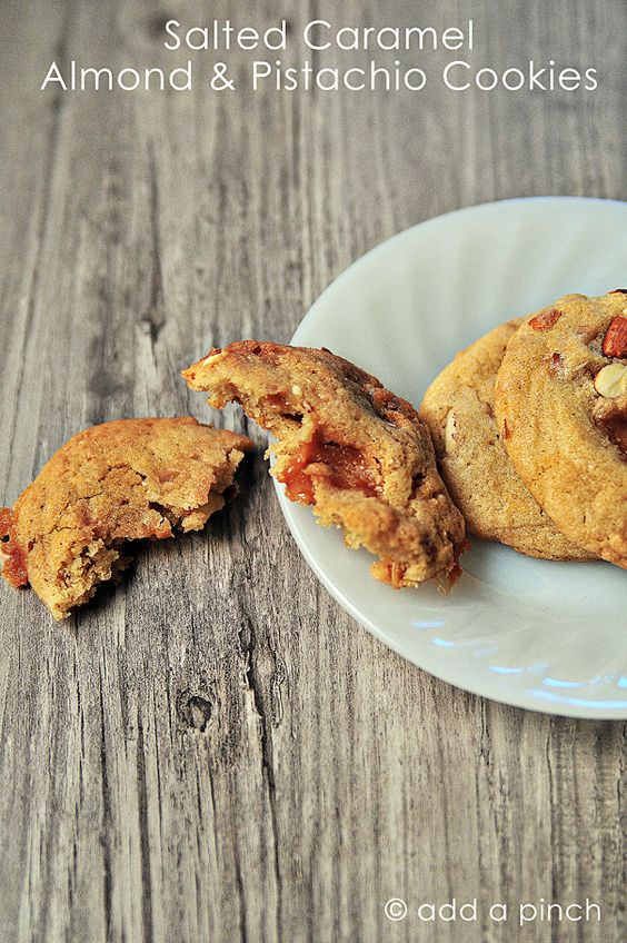 Salted Caramel, Almond and Pistachio Cookies by @addapinch | Robyn Stone