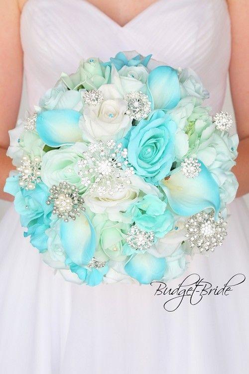 Tiffany Blue Bridal Bouquet Gold Davids Bridal Wedding Flowers