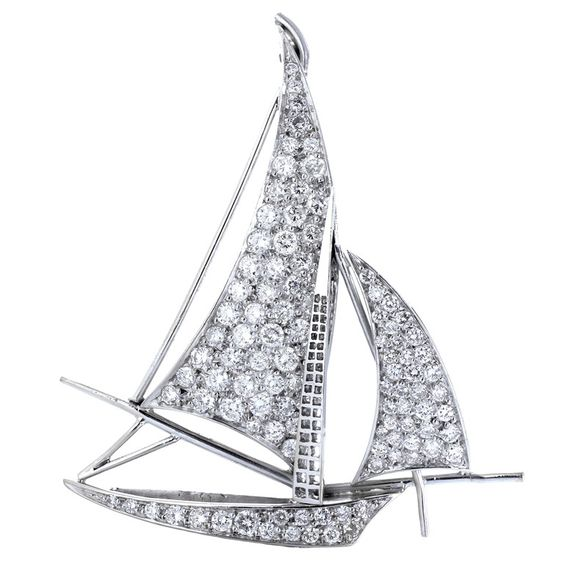 Charming 5.00ctw Diamond Sailboat Pin